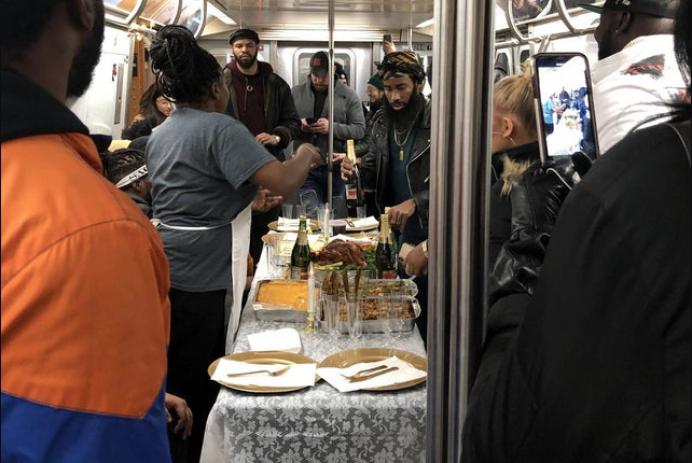 NYC Thanksgiving subway feast