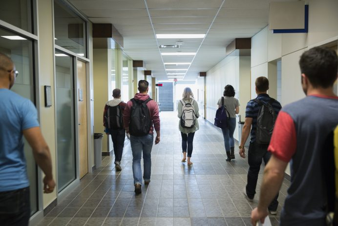 Students in a hallway