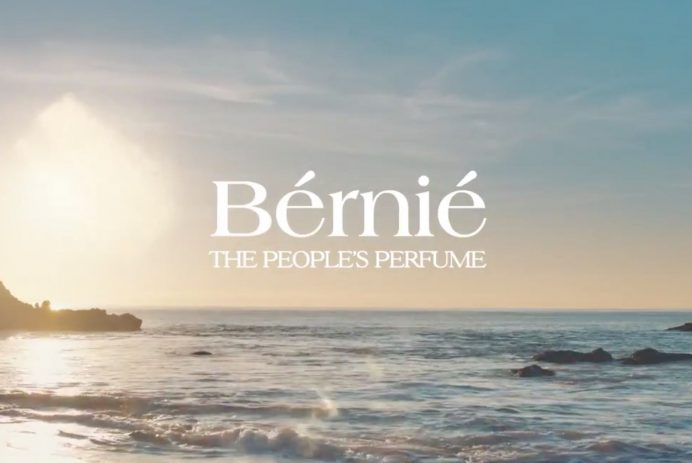 Bernie fake perfume ad over a beach