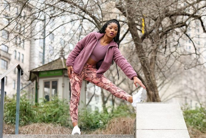 Keke Palmer Spotted in Old Navy Powersoft Activewear During a Workout in Central Park