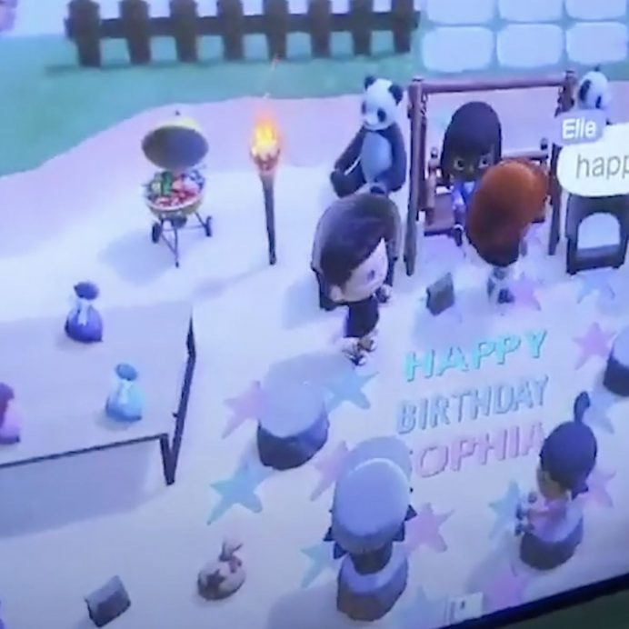 girl has birthday party on animal crossing