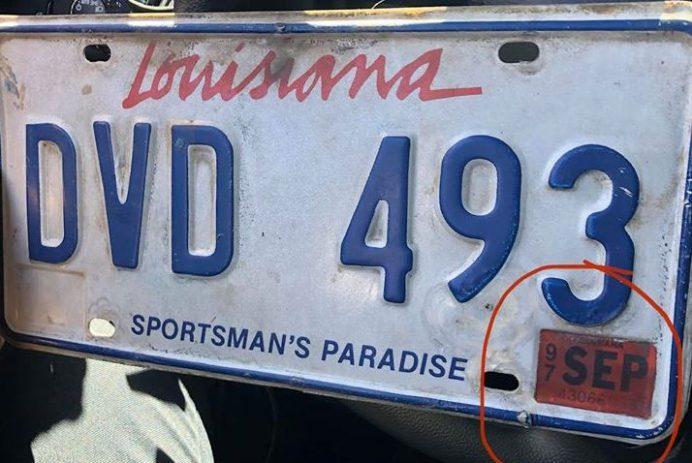 Expired Louisiana license plate