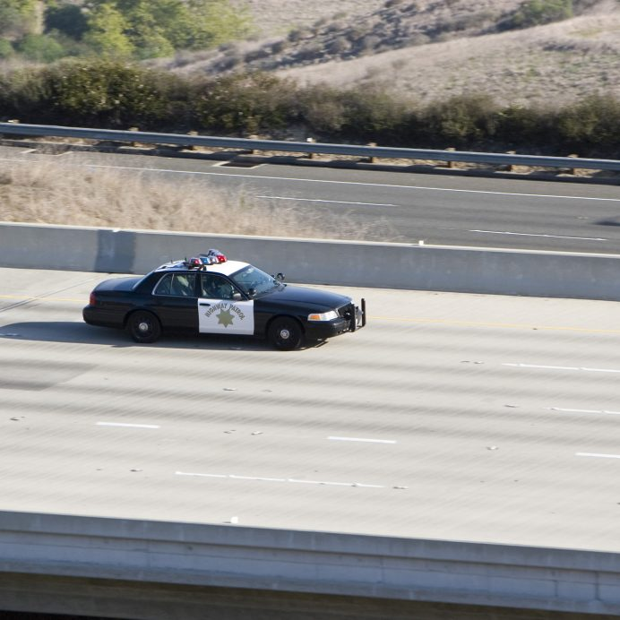 police car on the highway