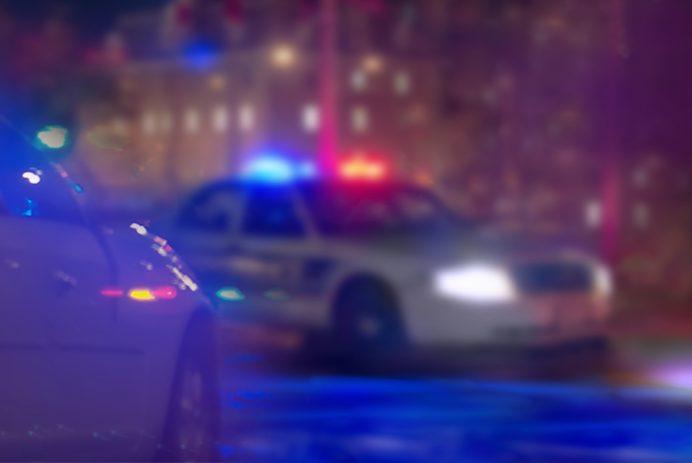 US police car at night.