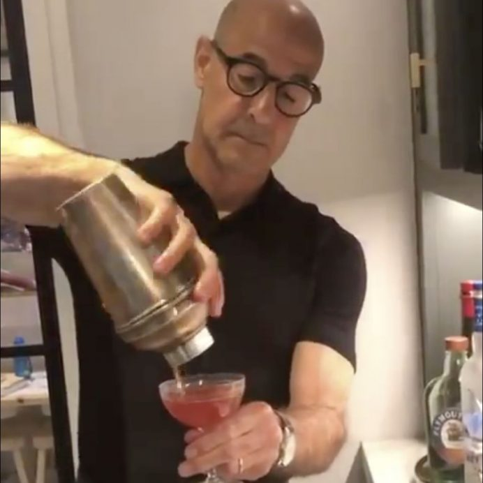 stanley tucci making cocktail