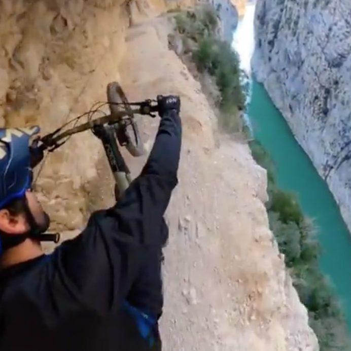 bike ride on edge of cliff