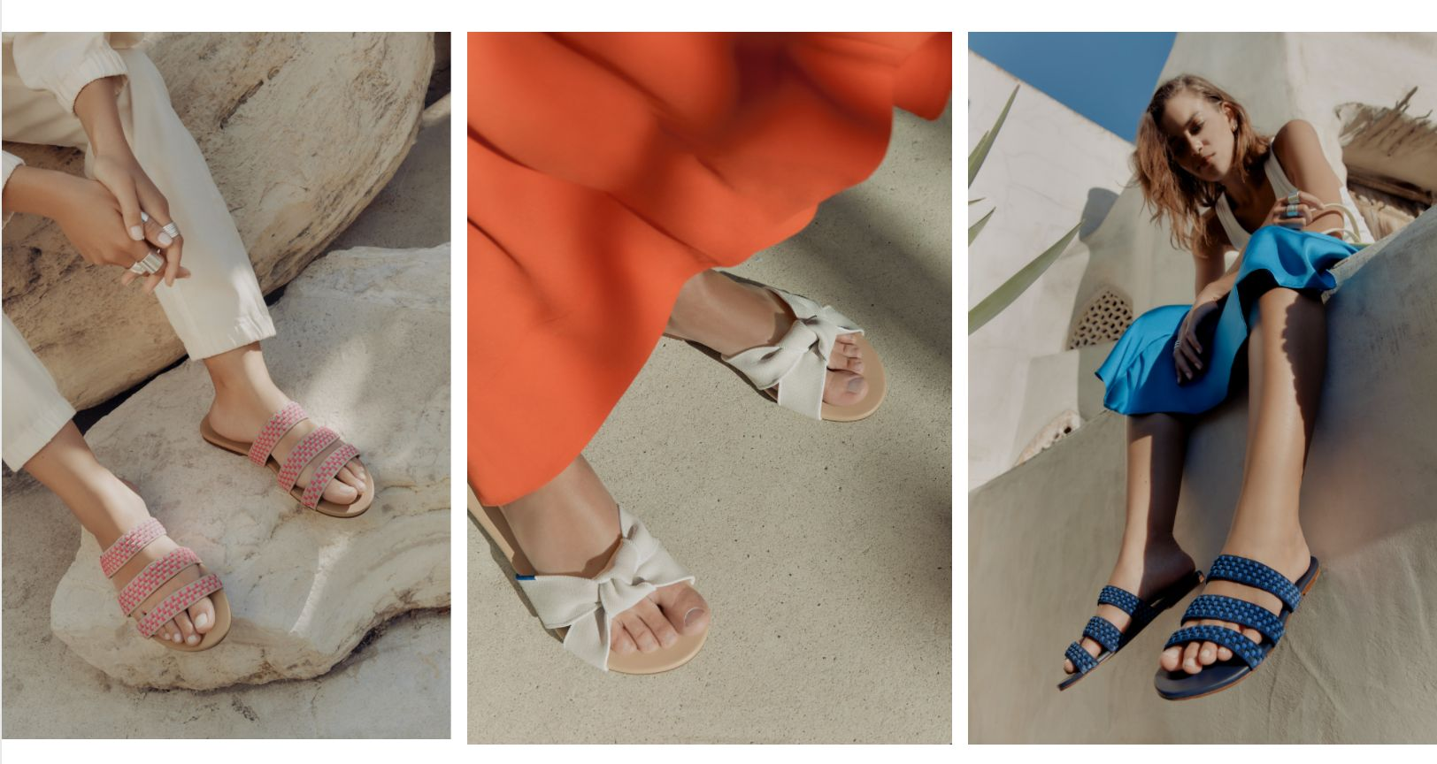 These chic sandals are made of plastic
