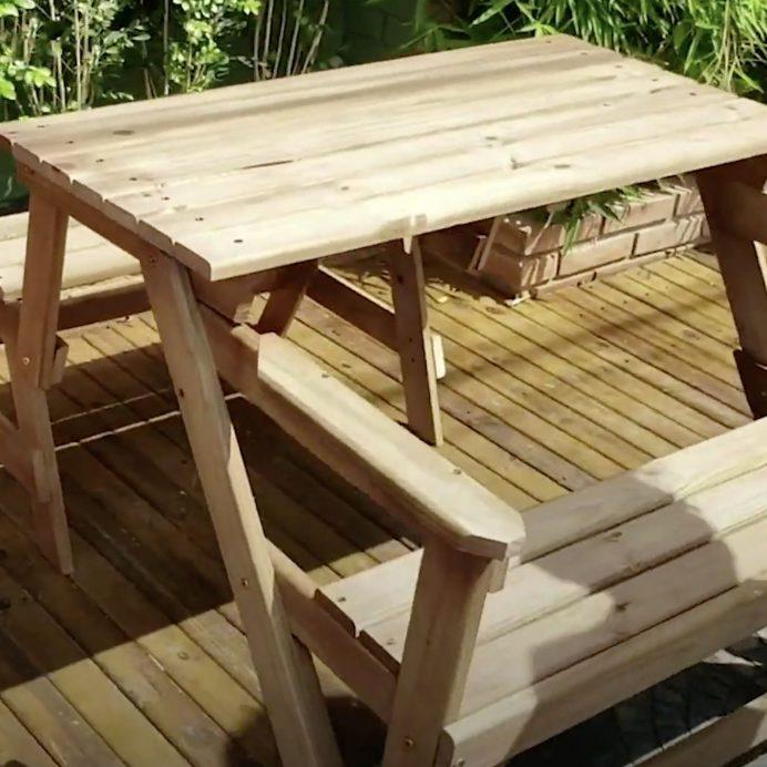 bench transforms into picnic table