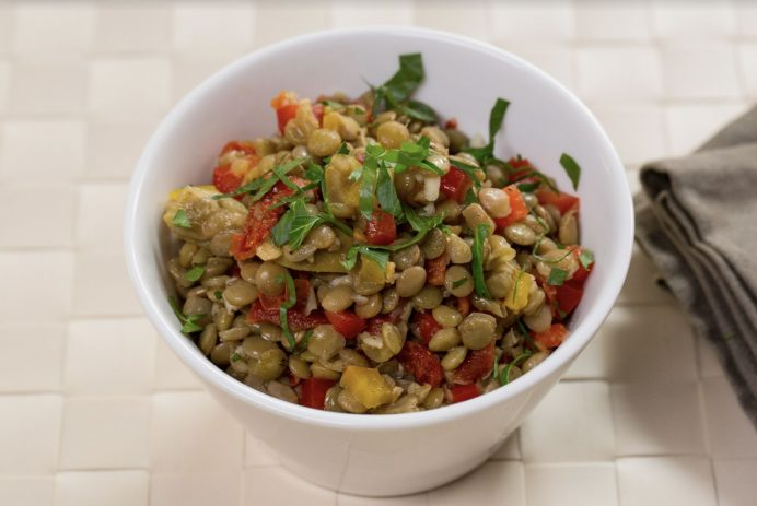 sun-dried tomato and lentil salad