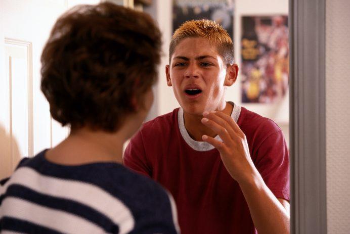 Teenager crying fighting