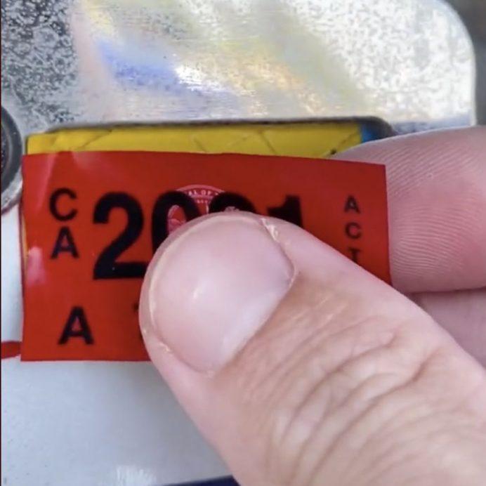 Car registration sticker