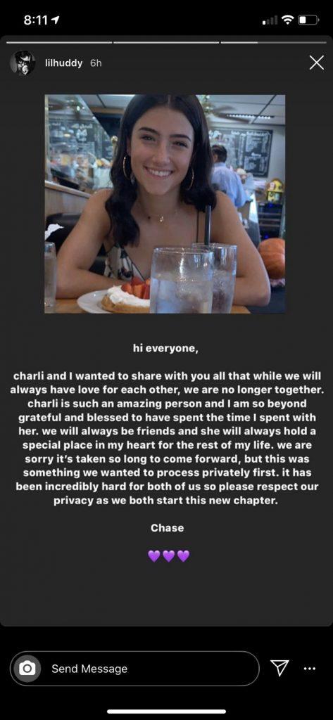 Lil Huddy and Charli D'Amelio breakup post