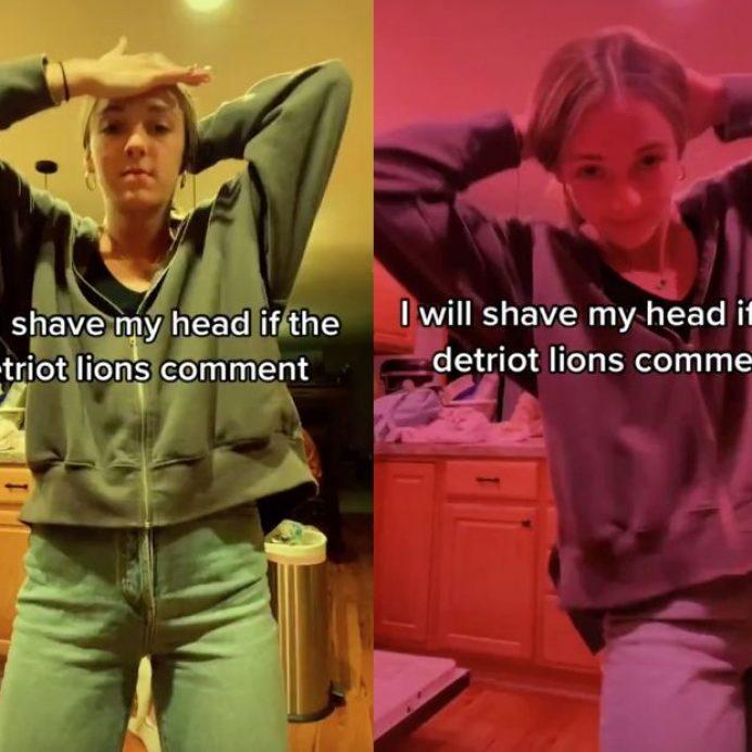 detroit lions shaved head tiktok