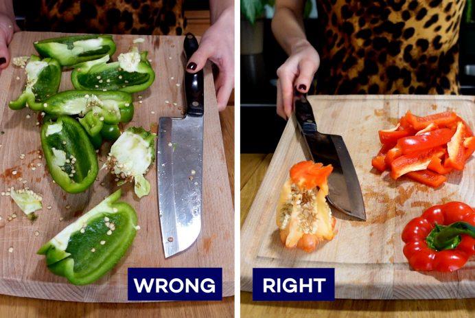 Cut a bell pepper