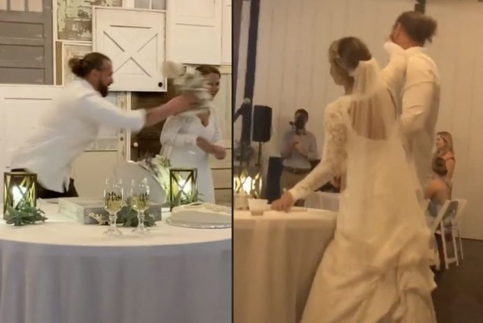 husband throws cake at bride