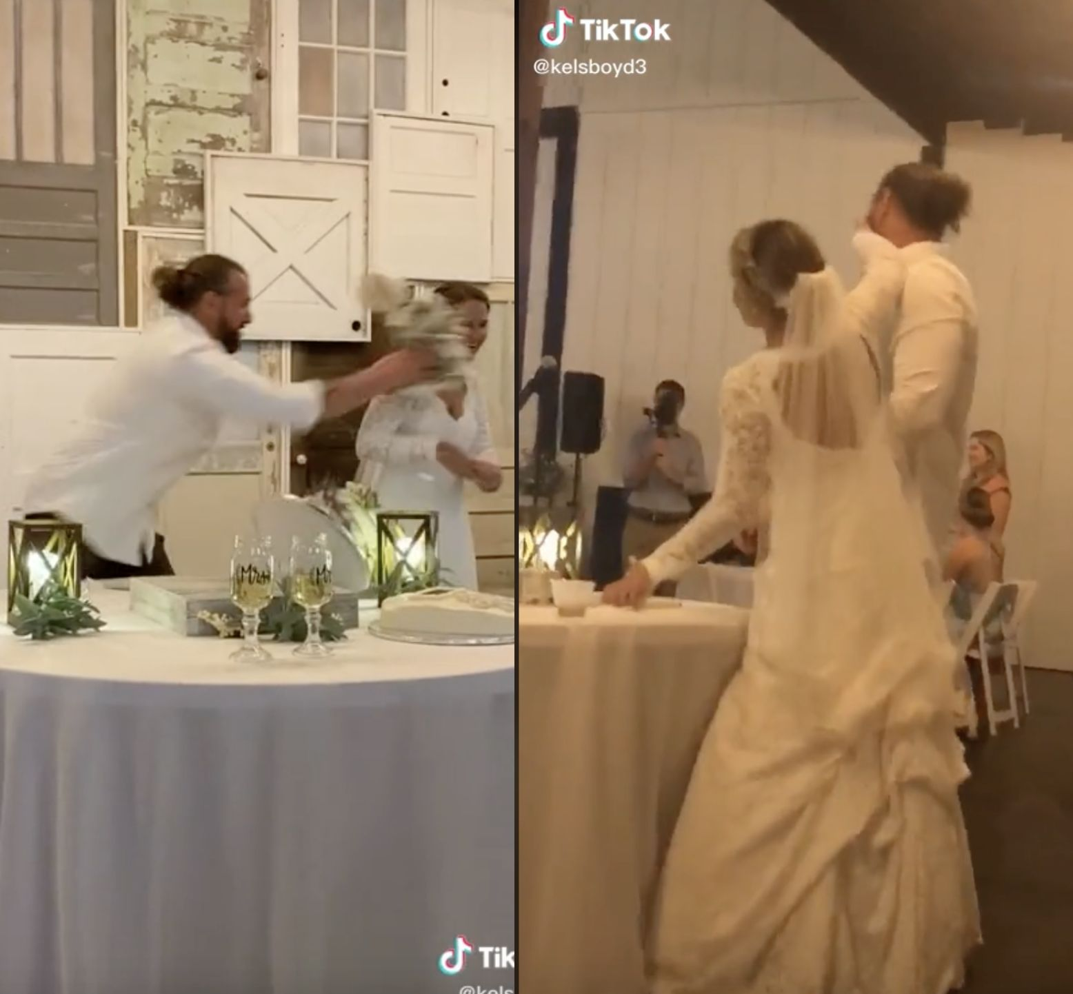 Bride defends husband after he throws entire cake at her