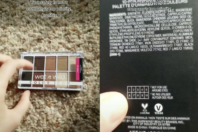 makeup palette warning