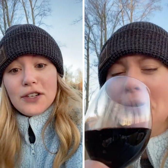 wine glass reflection naked