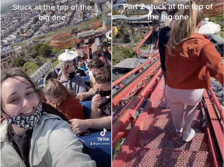 TikToker films harrowing experience after getting stuck at the top of a roller coaster