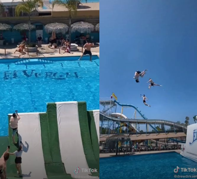 Influencers fly off water slide in jaw-dropping video: 'I'm terrified'