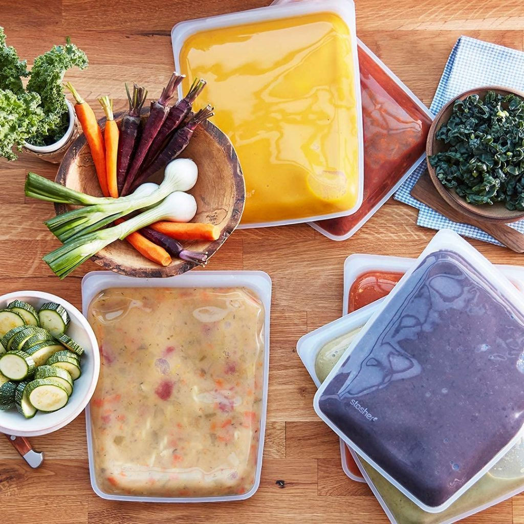 Stasher silicone food storage bags. Reusable bags that replace plastic Ziploc sandwich bags. An alternative to plastic bags. Prime Day kitchen deals 2021.