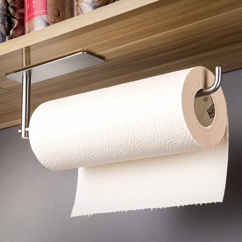 An adhesive paper towel holder that doesn't requires drilling or nails to mount to the wall or under the cabinet. Prime Day kitchen deals 2021.