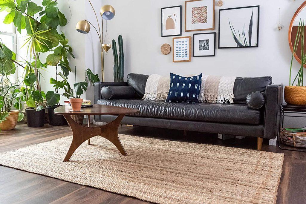 Natural fiber braided jute area rug on sale on Amazon on Prime Day 2021.