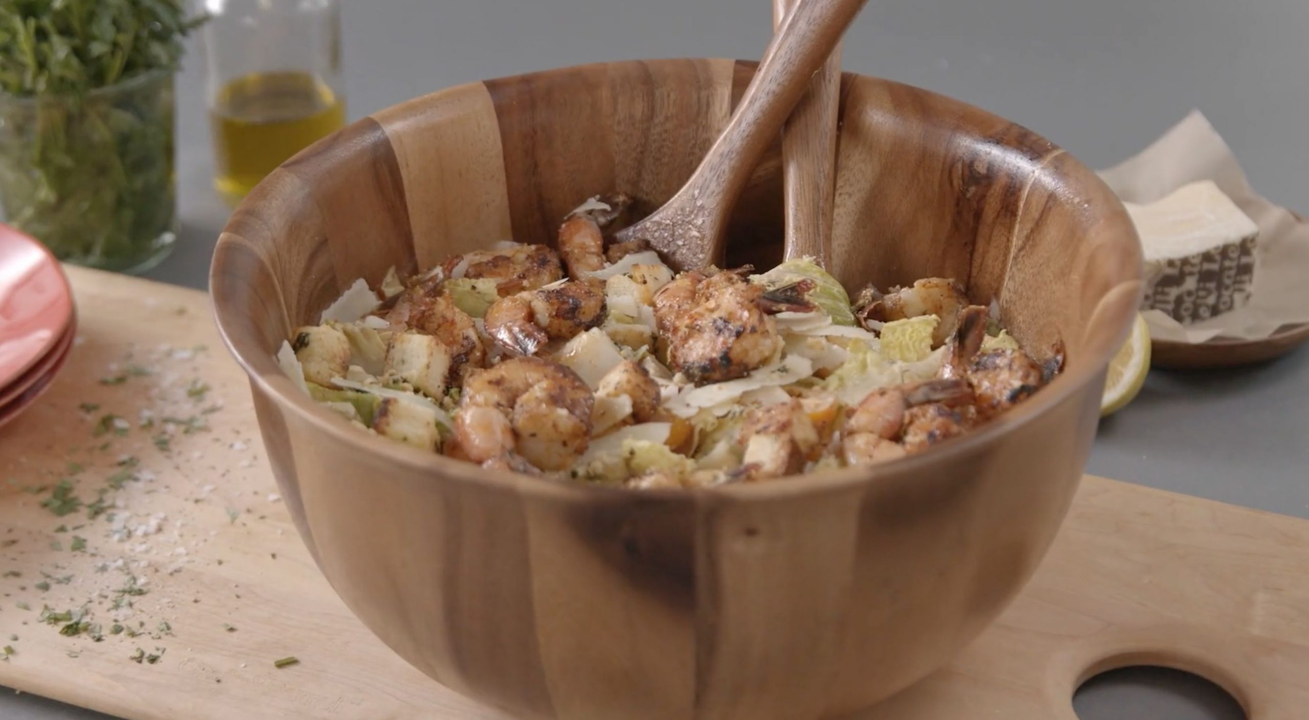 This Southern style Caesar salad features juicy grilled shrimp seasoned with Old Bay