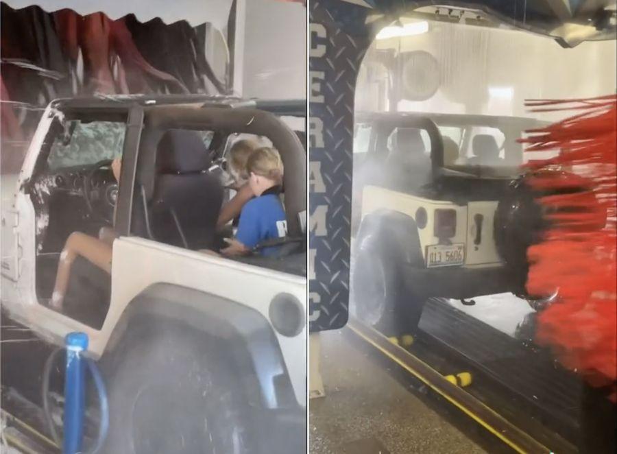 A viral TikTok shows a topless, doorless Jeep driving straight through a car wash
