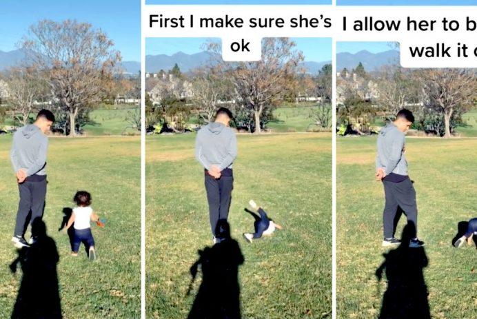dad lets baby walk it off