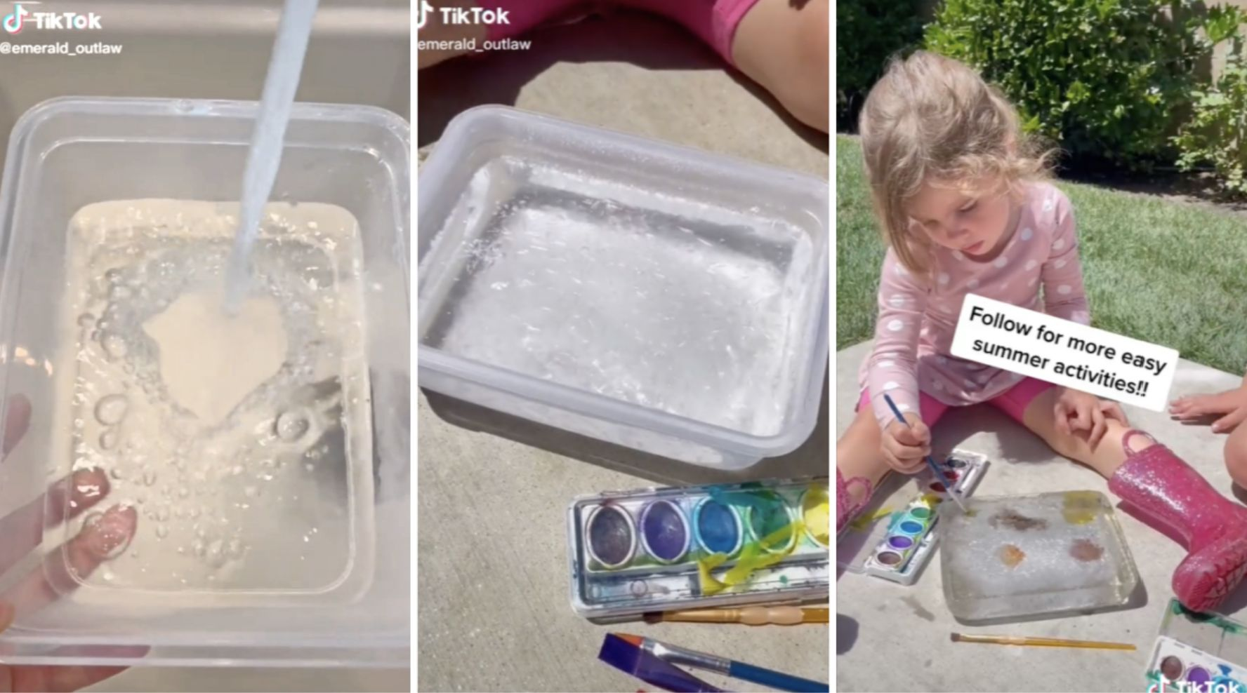 Ice painting is a brilliant way to keep kids cool and entertained this summer
