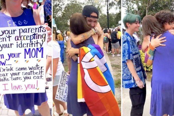 mom hugs people at pride