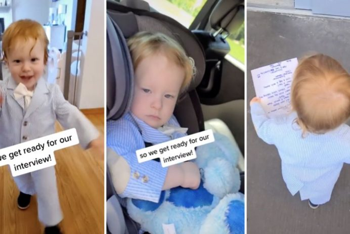 mom takes toddler to interview