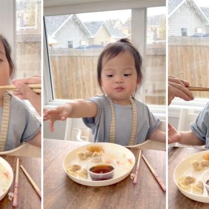 toddler shares sushi