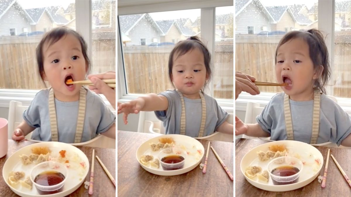 Toddler is incredibly serious about sharing sushi with her parents: 'I swear this made me want more children!'