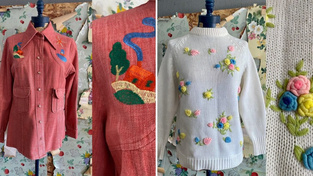Find a small selection of plus-size used clothing from Etsy shop Copperhive Vintage like plus-size sweaters, shorts, jeans, skorts, wedding dressses, embroidered clothes and more.