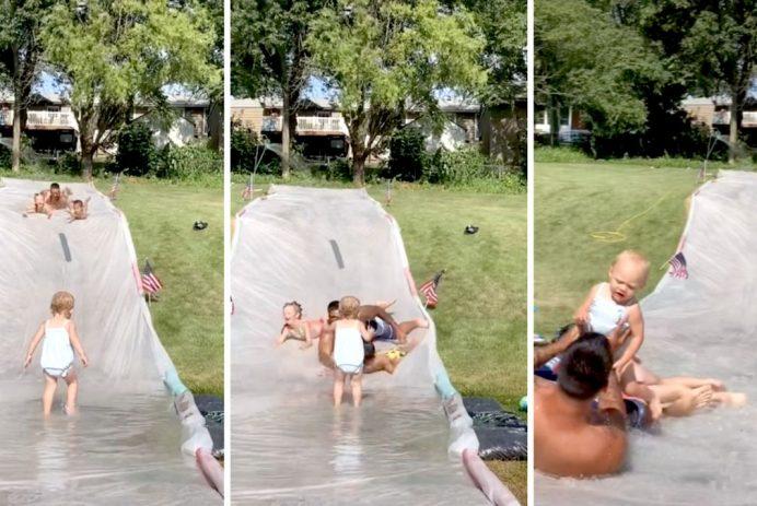 dad saves baby water slide