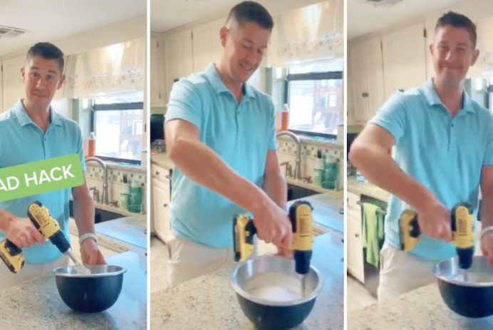 dad uses power drill as mixer