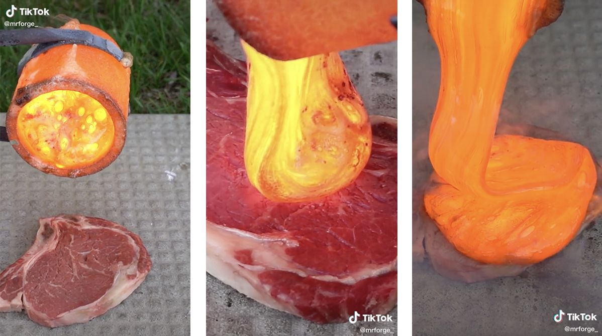 TikToker uses lava to cook a steak, and the results are unbelievable!