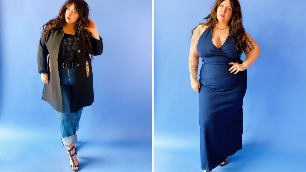 Shop vintage and secondhand used plus-size clothing from vintage plus size shops like Luvsick Plus, like jeans and shorts, dresses and skirts, and even bras and bra tops.