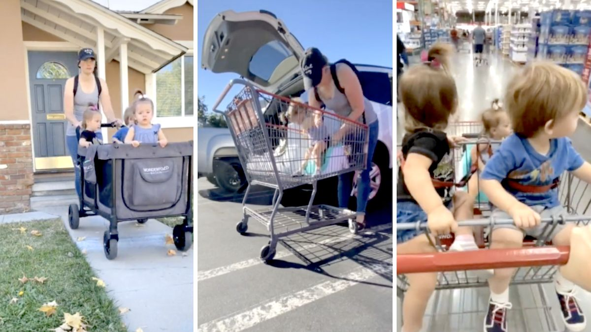Supermom demonstrates how she manages to take triplet toddlers to Costco all by herself