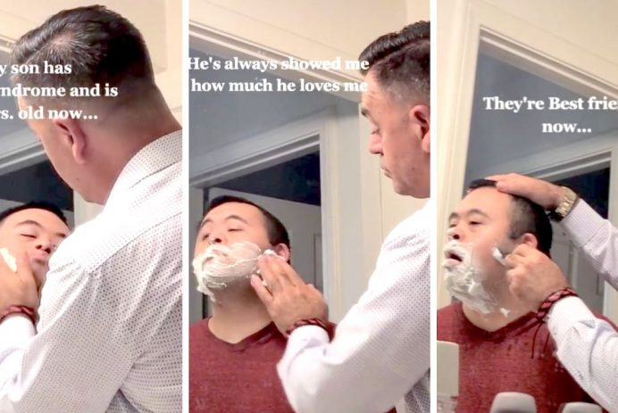 dad shaves son with down syndrome